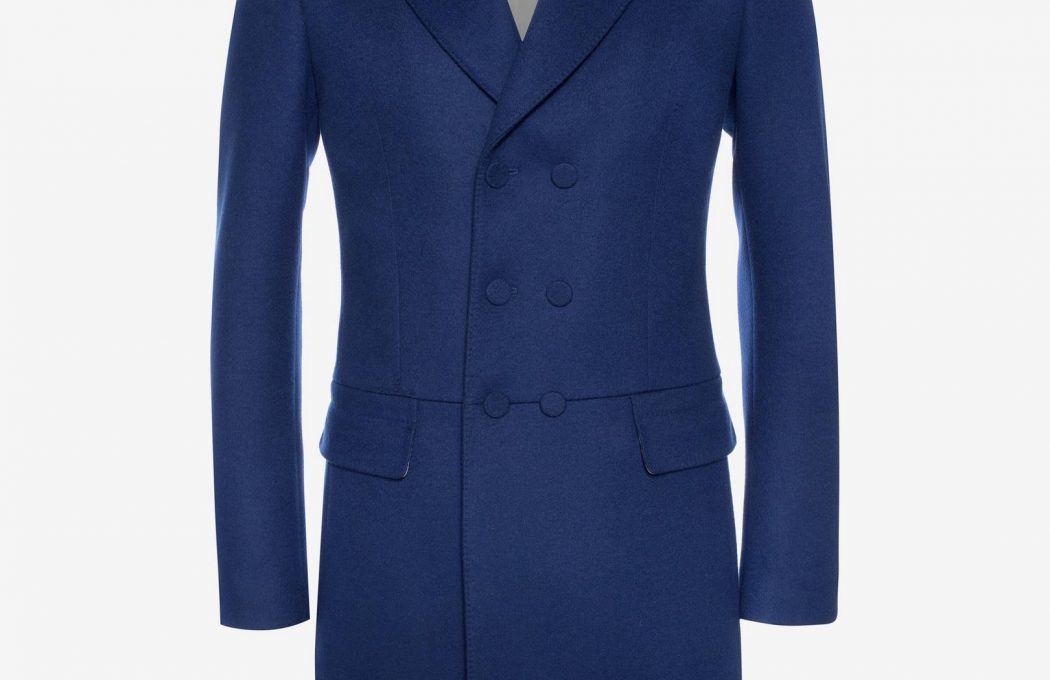 "Double-breasted 95cm/37.4"" blue wool cashmere coat. The coat has a fitted silhouette and features a covered button fastening and two flap pockets."